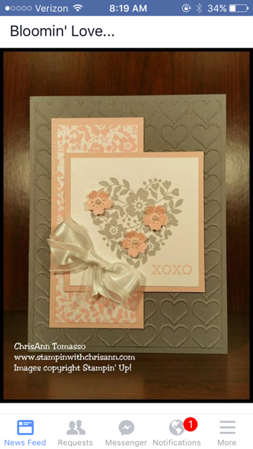 V Day card with white ribbon for class