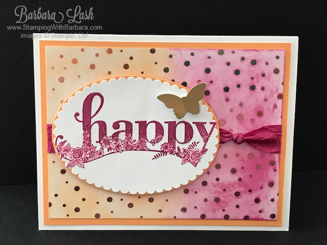 Stampin' Up! Happy Wishes with Springtime Foils DSP by Barbara Lash of StampingWithBarbara