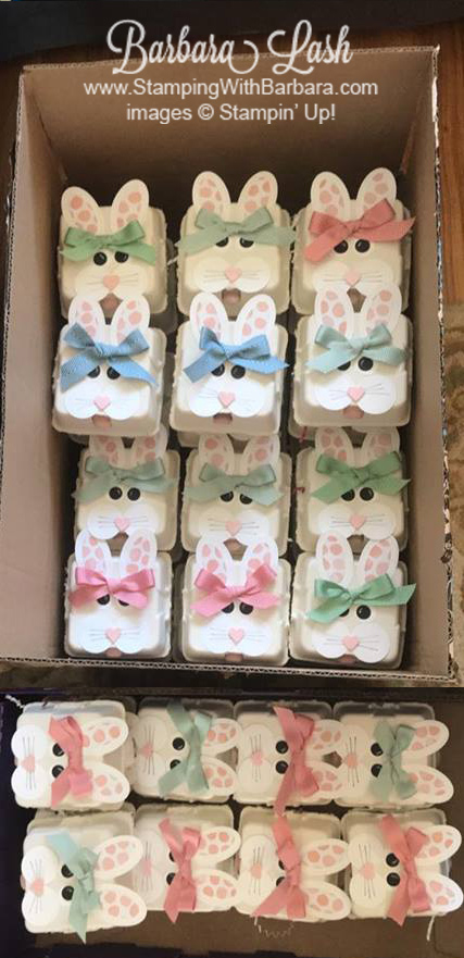 stampin up egg crate bunny for ronald mcdonald house charities by Barbara Lash of Stamp With Barbara