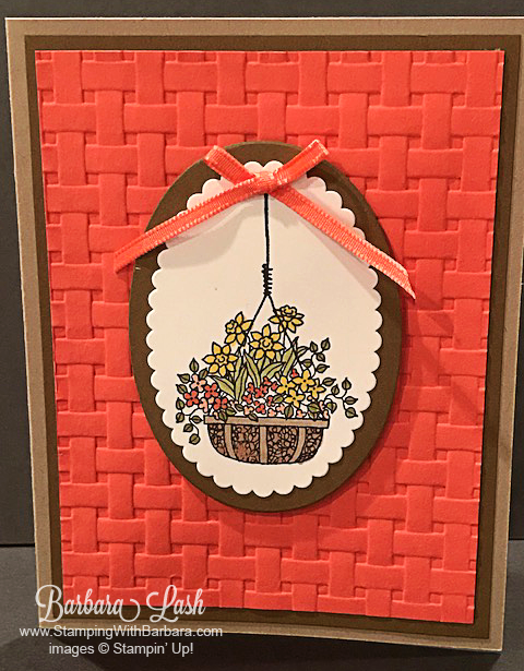 Stampin' Up Blossoming Basket Weave Embossing Folder handmade card by Barbara Lash of Stamping With Barbara