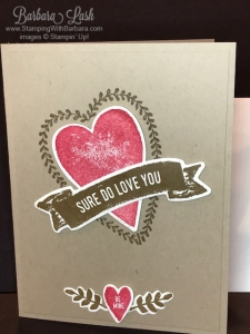 handmade card made using Stampin' Up! Sure Do Love You stamp set by Barbara Lash of Stamping With Barbara