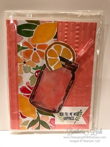 Stampin' Up! fruit stand DSP sharing sweet thoughts jar of love lemonade handstamped card by Barbara Lash of Stamping With Barbara