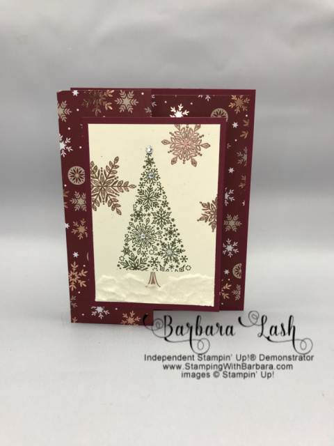 Stampin' Up! hand made Christmas card using the Snow is Glistening promotional stamp set